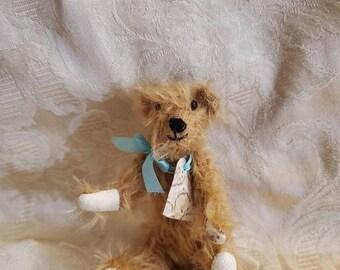 On Sale Rare Find, Hairy Hanna, LA 2000, Miniature Jointed Stuffed Bear, Shadow Box Decor, Dollhouse Bear, Blue Bow, Souvenir Bear