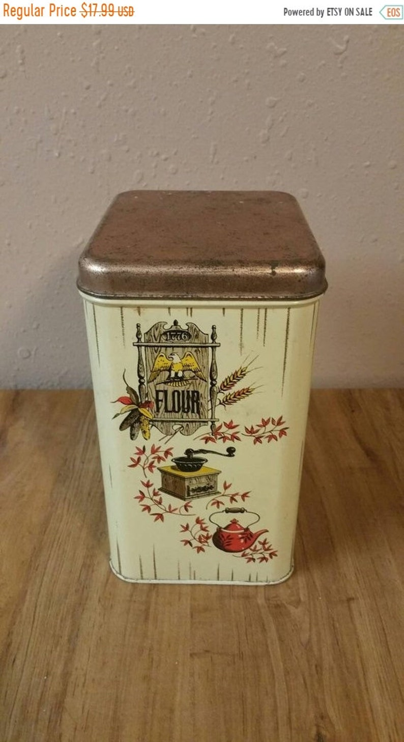 On Sale Rustic  Cheinco Rectangular Flour Storage Container Tin with Coffee Grinder Red Teapot and Eagle Picture Vintage Kitchen