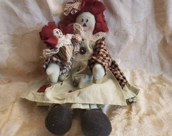 On Sale Rare Find, Raggedy Ann wth Baby, 13 inch  Patchwork Doll, Red and Beige Dress, Country Style Decor, Vintage Collectible