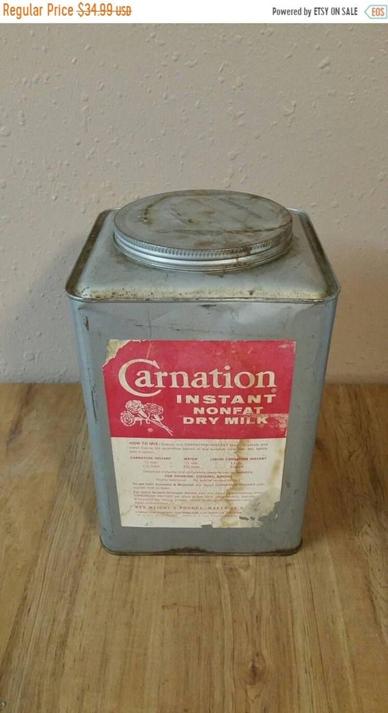 On Sale Rare Find Rustic Carnation Instant Nonfat Dry Milk Metal Container  with Original Label Farmhouse Decor