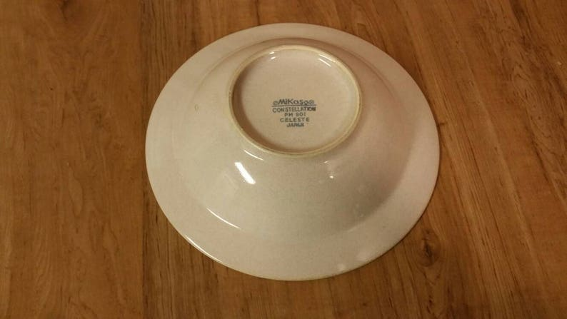 Beige Center W White Circle On Sale Rare Find Mikasa Celeste 8.25 inch Rimmed Soup Bowl  with White Rim