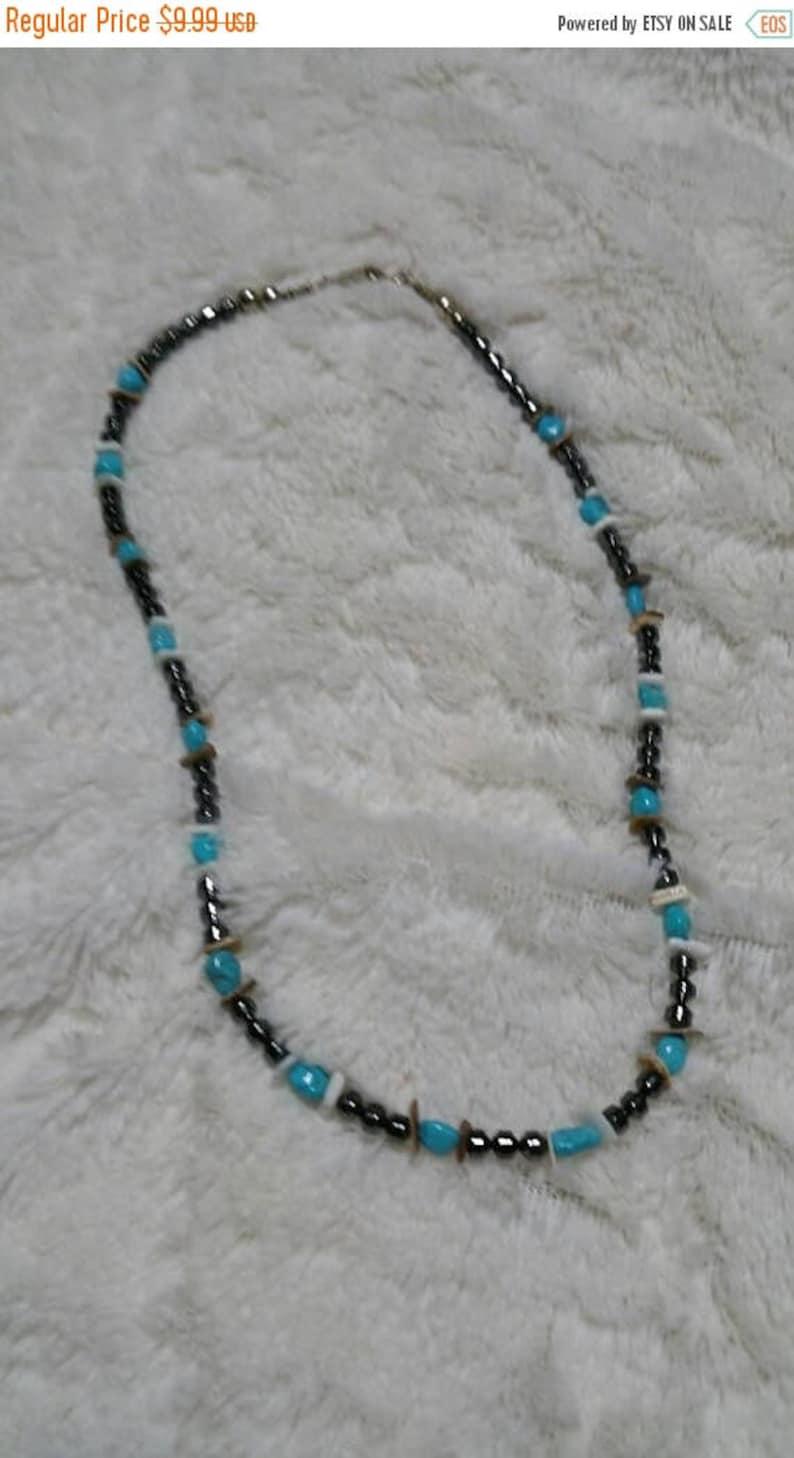 On Sale Black Hematite Faux Turquoise and  Plastic Bead 18 image 0