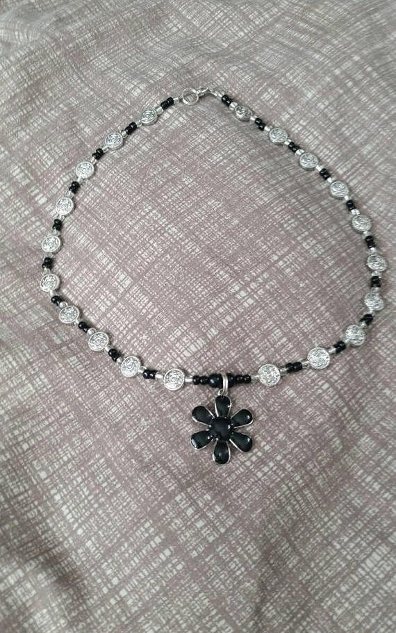 On Sale Steampunk Style and Multi Strand 28 inch Silver Toned and Black Chain with Flower Charm Costume Jewelry Fashion Accessory