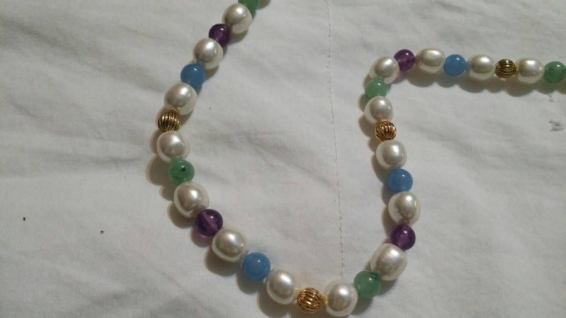 On Sale Inexpensive Bling White Purple and Light Blue Beaded and Gold Toned 36 inch Necklace Costume Jewelry Fashion Accessory