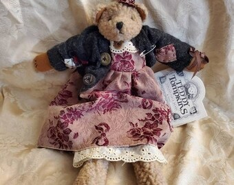 On Sale Rare Find, Teddy Tompkins, Samantha 16 inch Bear, Stuffed Collectible by Enesco with Patchwork Dress and Original Tag, 1996