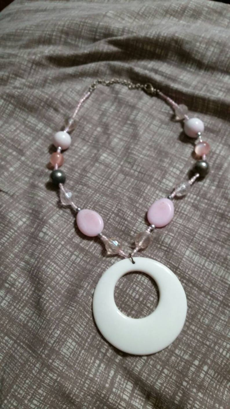 On Sale Pale White Pink and Silver Toned 18 inch Pendant Necklace Costume Jewelry  Fashion Accessory