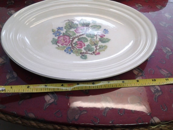 7.50 inch Salad or Dessert Plate with Gold Rim Morning Glory Vintage Serving Dish On Sale 1940s Noritake