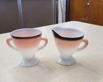 On Sale Hazel Atlas Glass, Neapolitan Sugar Bowl and Creamer Set, Mid Century Modern Tea Serving Set, Syrup Pitcher, Vintage Kitchen Tools