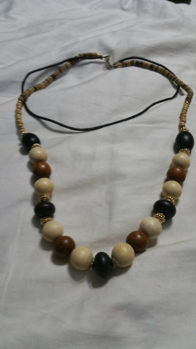 Fashion Accessory 24 inch Wooden Costume Jewelry Tan and Black Wooden Beaded Necklace with Black Cord On Sale Dual Strand Brown