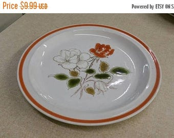 On Sale Hand Painted Rose Bouquet Pattern 10 inch Stoneware White and Orange Dinner or Chop Plate Replacement Dish