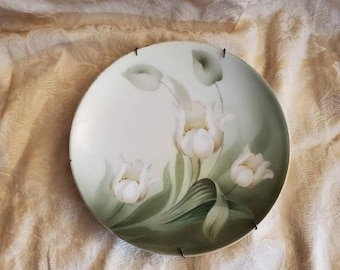 On Sale Hand Painted White Lily, 8.20 inch R S Germany, Antique Decorative Plate with Brass Wall Hanging, Green and White Plate