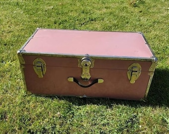 On Sale 1950's,  Rustic Pale Pink and Metal, Rectangular Foot Locker, Blanket Chest, Storage Box with Beige and Black Stripe Interior