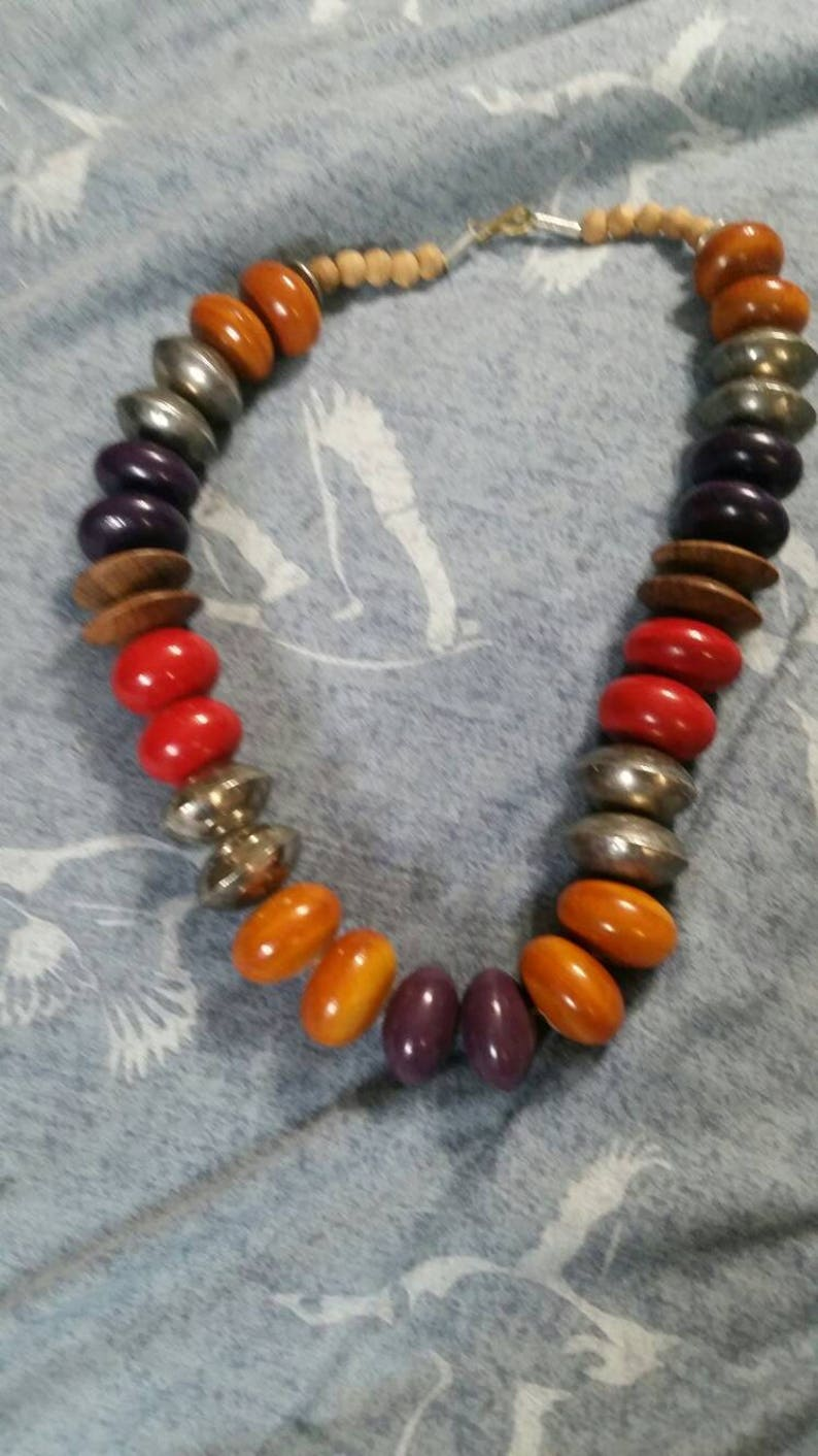 On Sale Multi Colored Large  Wooden and Metal Bead 20 inch Single Strand Choker Necklace Costume Jewelry Fashion Accessory