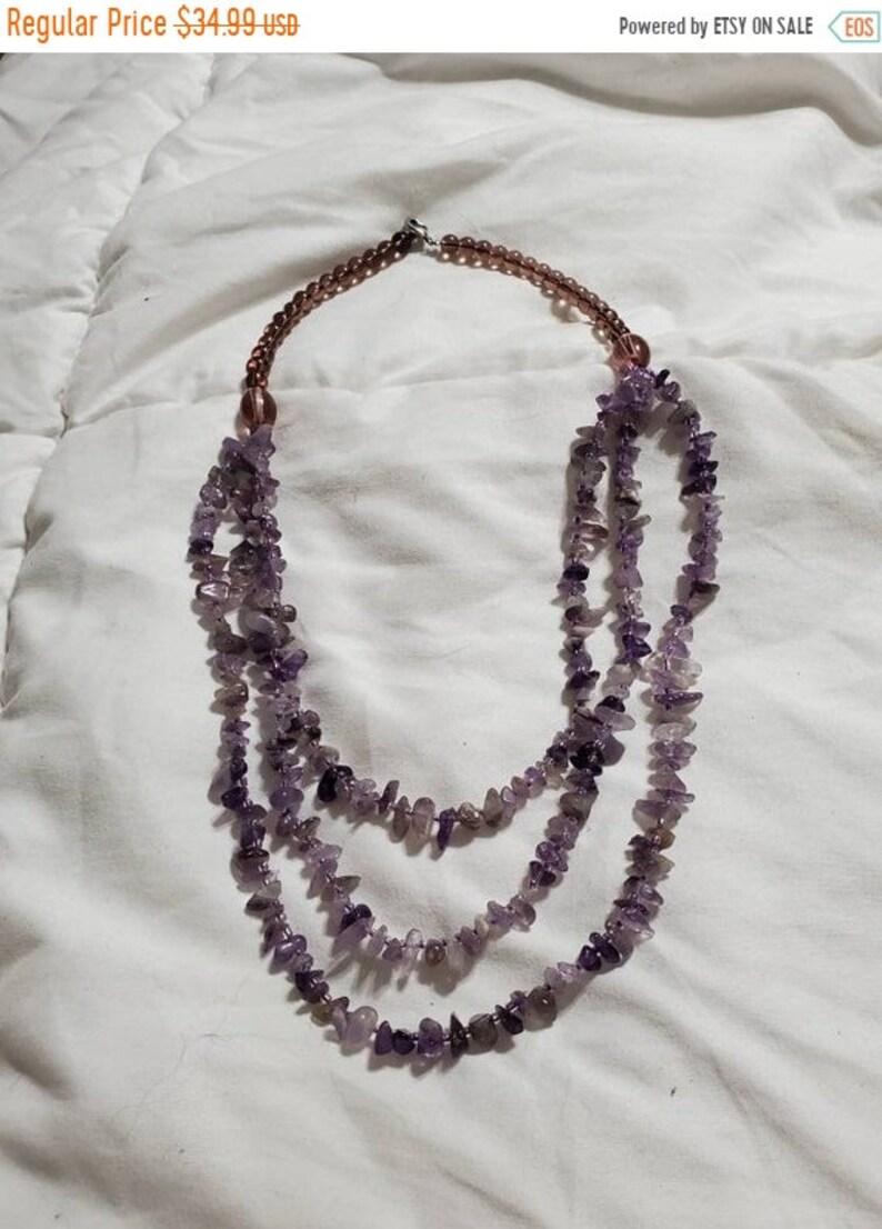 On Sale Purple Amethyst Glass Bead 22 inch Triple Strand image 1