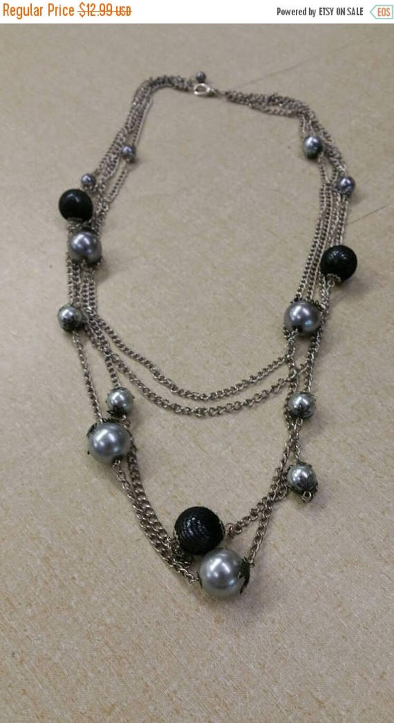 On Sale Frosted Gray Bead 36 inch Long Necklace with Black image 0