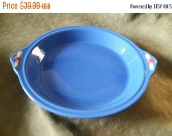 On Sale Rare Handled  Coors Pottery Bright Blue with Pink Rosebud 9 inch Pie Plate 1950s Kitchen