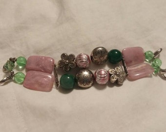 On Sale Jewelry Supply Pink, Light Blue,  Green and Silver Toned Colors Beaded Stretchable Watch Band Silver Toned