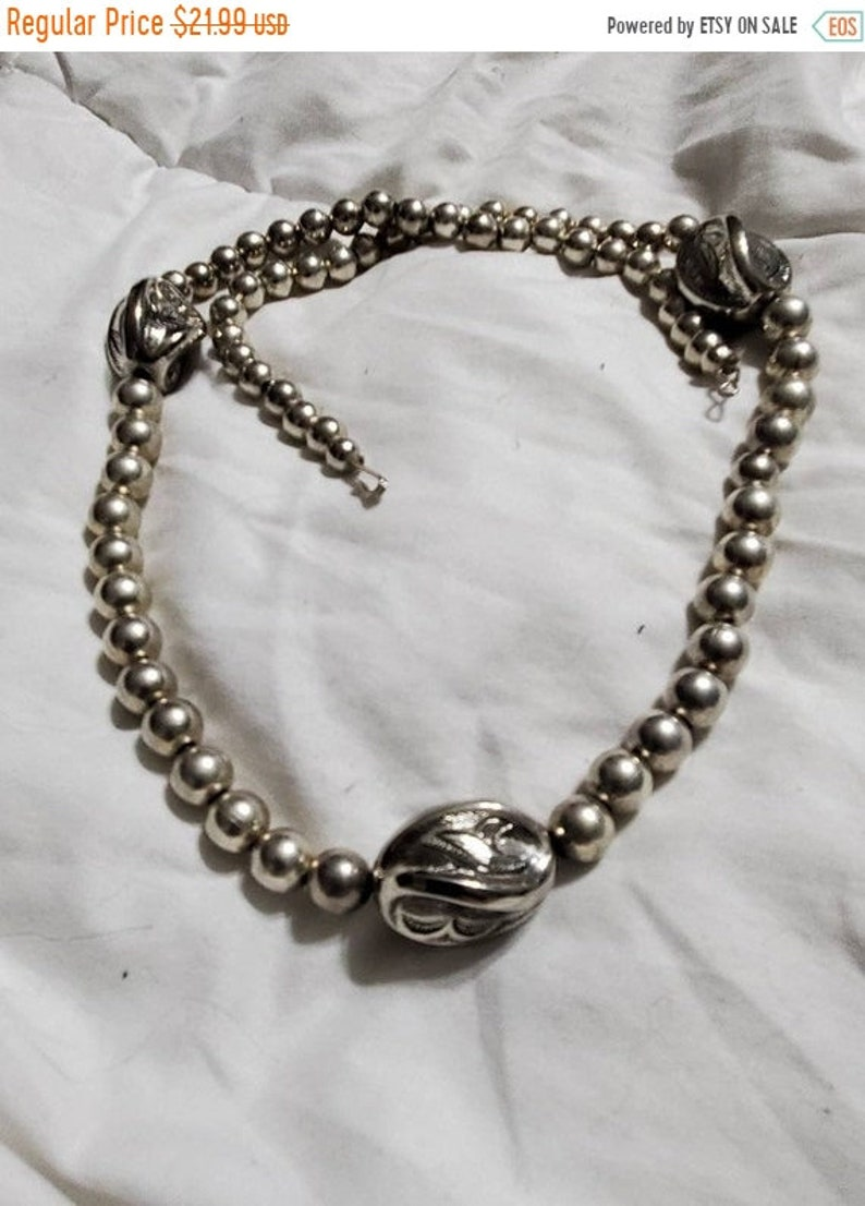 On Sale 24 inch Silver Toned Metal Bead Oval and Round image 1