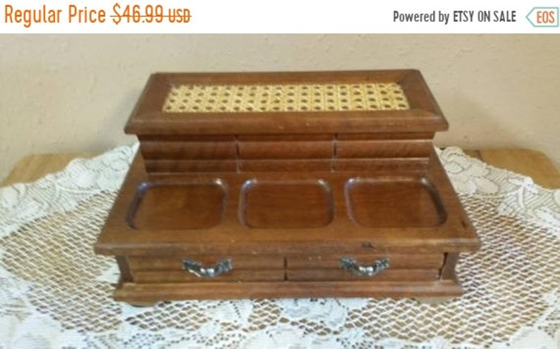 Jewelry Box Vintage Wood Valet Box with Cane Insert On Sale Centurion