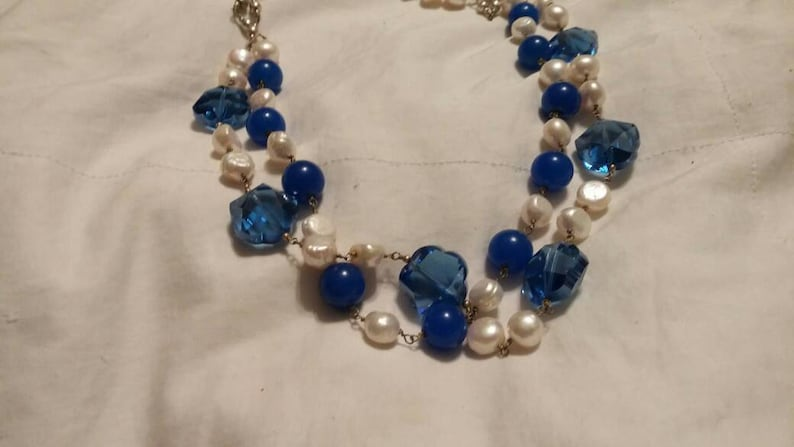 On Sale Estate Jewelry Baroque Pearl and Bright Blue Choker Necklace  Fashion Accessory Vintage Bling