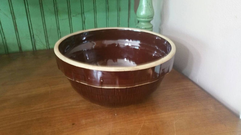 On Sale Collectible Pottery 9 inch Brown Mixing Bowl Primitive Decor Made in USA Hull Pottery