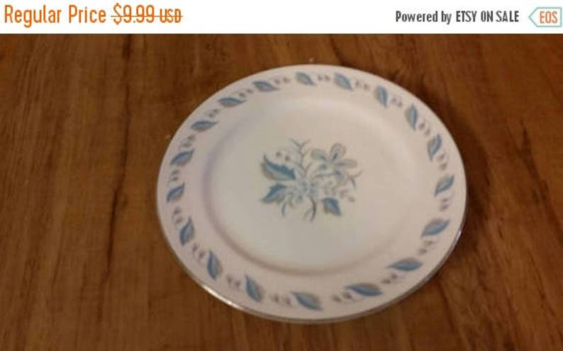 On Sale Rare Find Abalone China with Blue Sky  Flower Porcelain 7.5 inch Serving SaladDessert Plate with Silver Rim