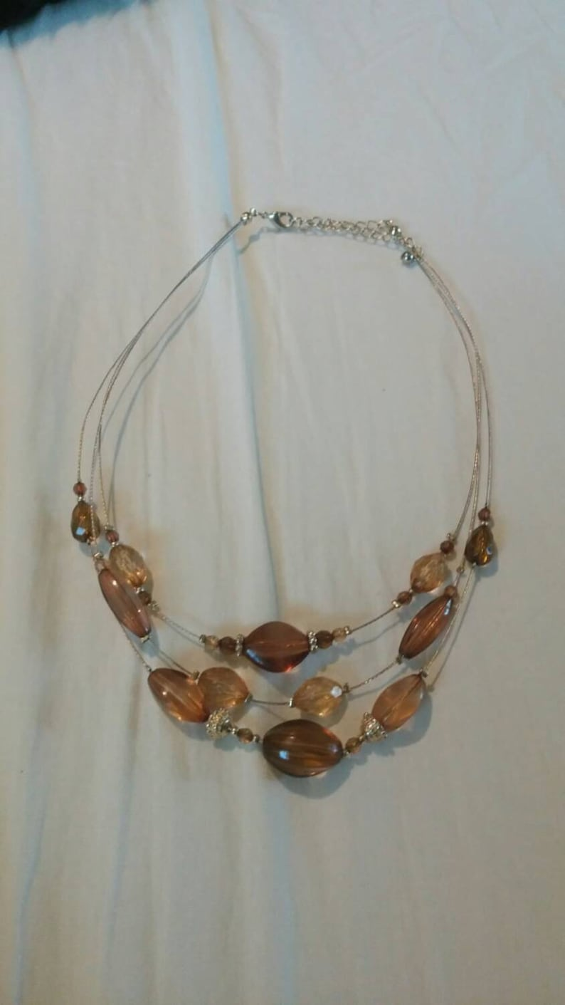 On Sale Inexpensive Bling Light Brown and Gold Toned 3 Strand 18 inch Choker Necklace Costume Jewelry Fashion Accessory