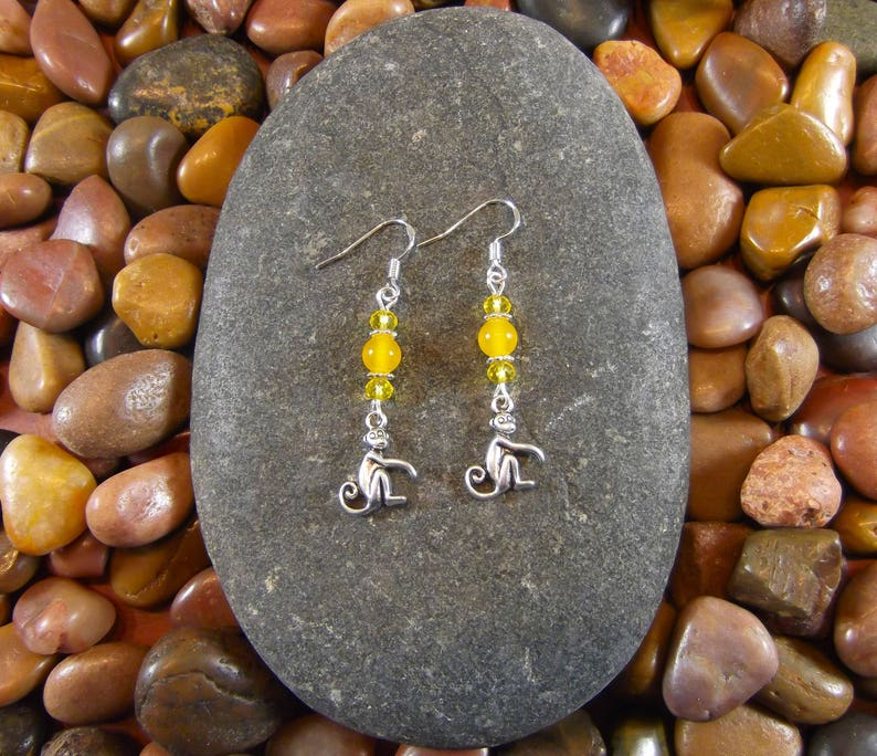 Monkey Jewelry Yellow Jade Monkey Earrings Primate Jewelry Primate Earrings Monkeys Monkey Animal Earrings Monkees Monkey Earrings
