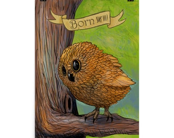 Baby owl born poster