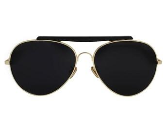 676291afae SLOANE Eyewear - FIRA Aviators Gold Black Unisex Sunglasses Accentuated  Brow Bar