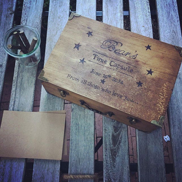 Baby Time Capsule Box First Birthday Ideas Sentimental Gift Small Memory Rustic Keepsake