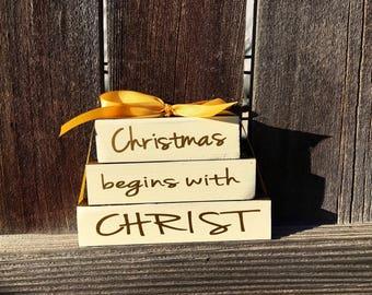 Christmas wood blocks--Christmas begins with Christ