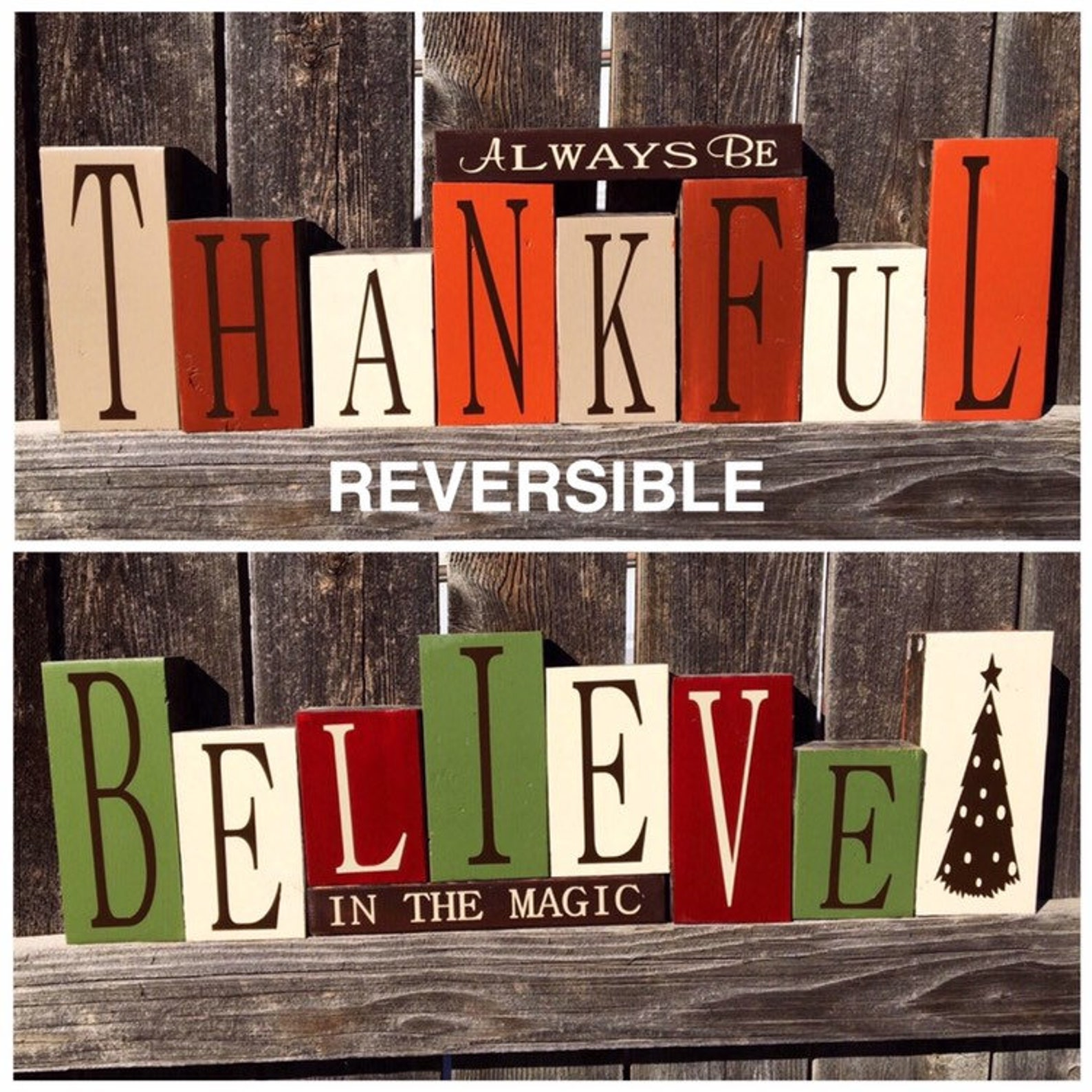 Reversible Thanksgiving Christmas Wood Block