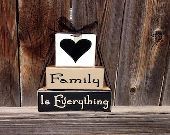 Family is Everything wood blocks--Inspirational quote