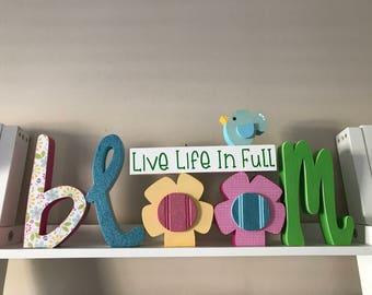 Live Life in Full Bloom Wooden Letter Set