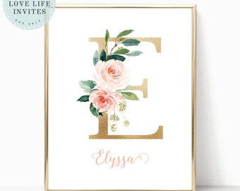 letter e nursery wall art monogram gold floral pink instant download editable printable wall art template