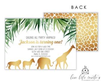safari birthday invitation gold safari party jungle birthday etsy