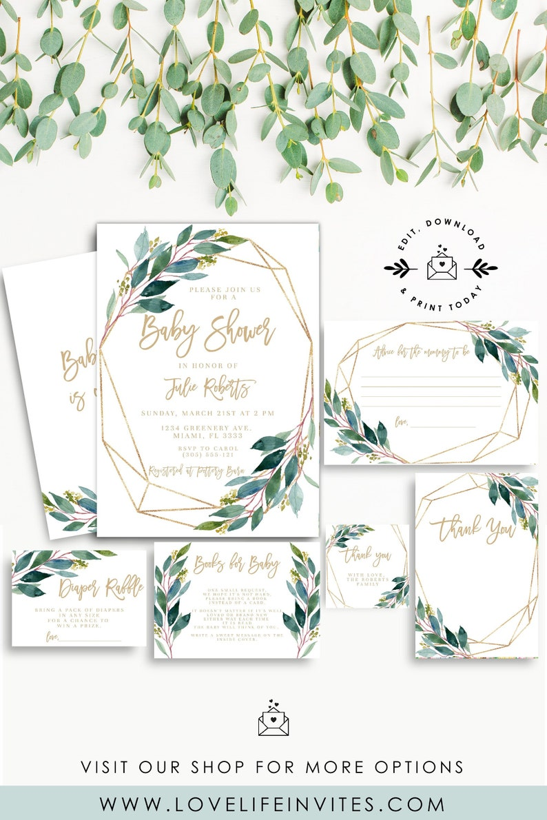 EDITABLE Greenery Baby Shower Invitation Set Green Gold Template Printable Bundle With Diaper Raffle INSTANT DOWNLOAD