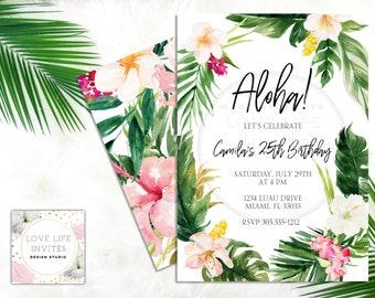 Aloha Tropical Birthday Invitation | Hawaiian Birthday Invitation | Luau Birthday Party | Tropical Party Theme | Luau Birthday Invitation