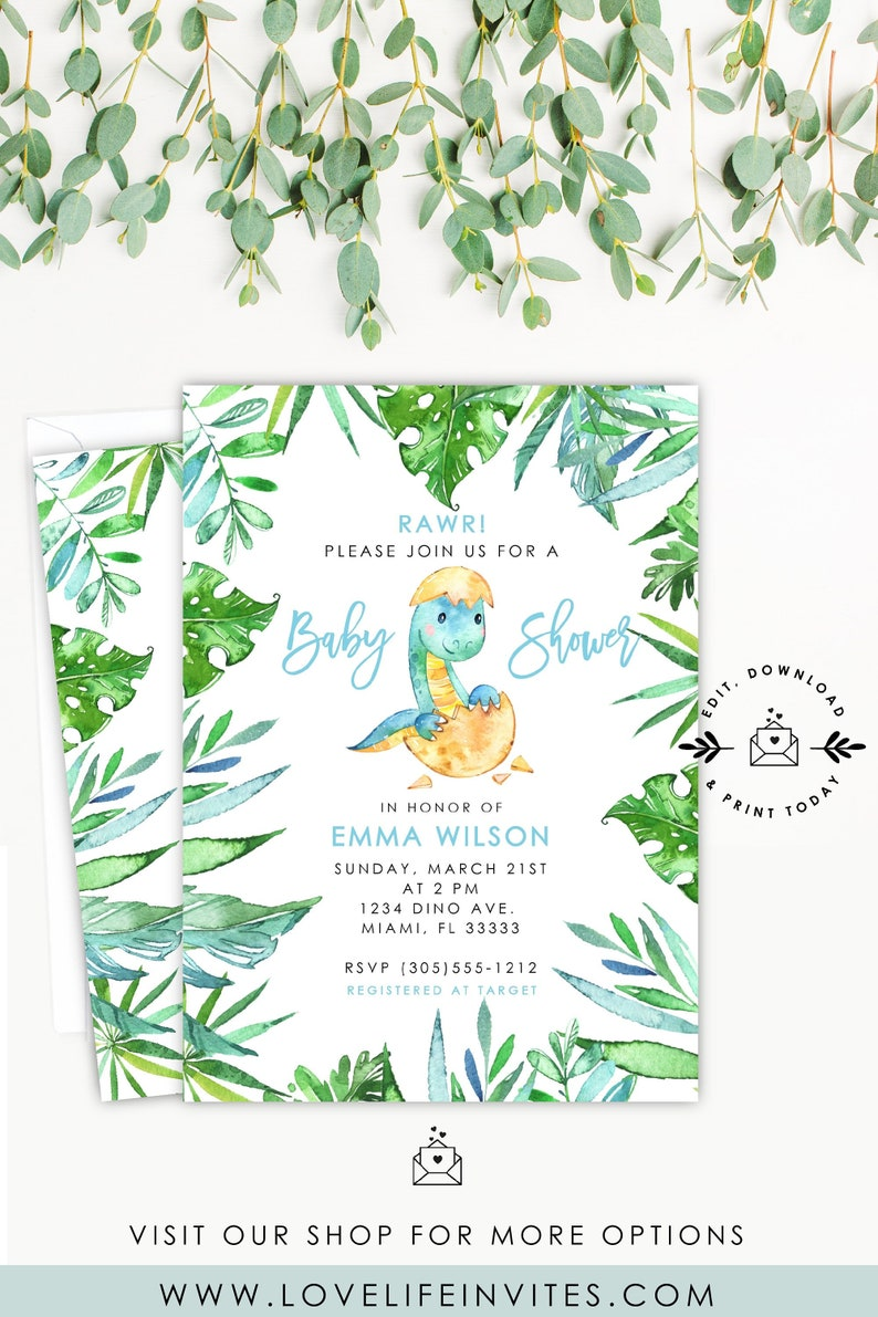 photo regarding Free Printable Dinosaur Baby Shower Invitations identified as Dinosaur Youngster Shower Invitation, Kid Dinosaur Gender Impartial Child Shower Invitations, Watercolor Dinosaur Invitation Template Prompt Down load