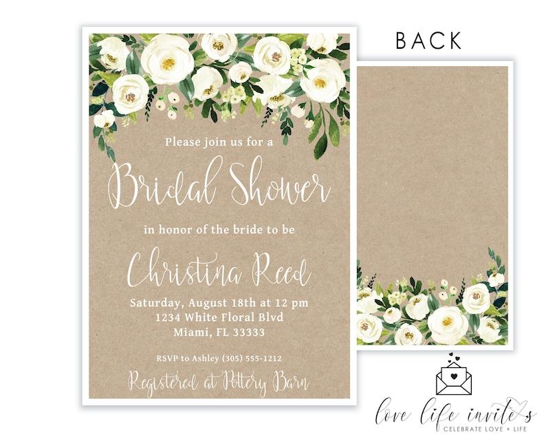 48736c01d3dd Rustic Bridal Shower Invitation Floral Digital or Printed