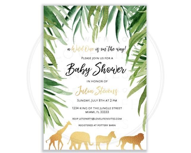 Safari Baby Shower Invitation Gold Safari Invitations Baby Boy
