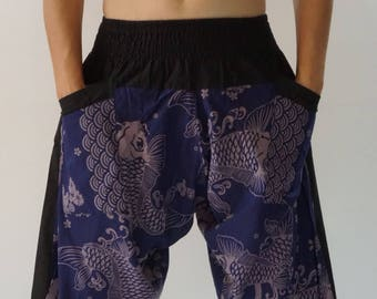 HC0114 Samurai Pants - elastic waistband and cuffs - Fits all! Unisex pants These beautiful casual pants is unique & comfortable to wear YAqFTTrw