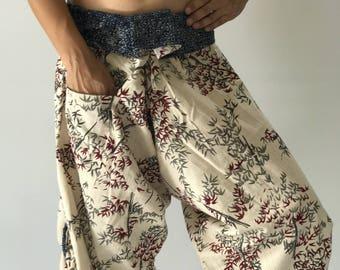SR0096 Samurai Pants Harem pants have fisherman pants style wrap around waist