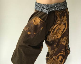 HC0114 Samurai Pants - elastic waistband and cuffs - Fits all! Unisex pants These beautiful casual pants is unique & comfortable to wear tp85nM