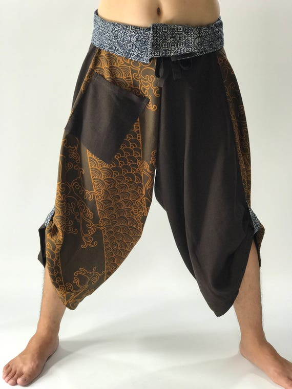 SR0677  Samurai Pants Harem pants have fisherman pants style wrap around waist