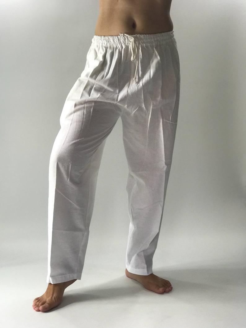 fd49e8b7537dcb CH0544 Pure white meditation Men's Yoga Massage Pants   Etsy