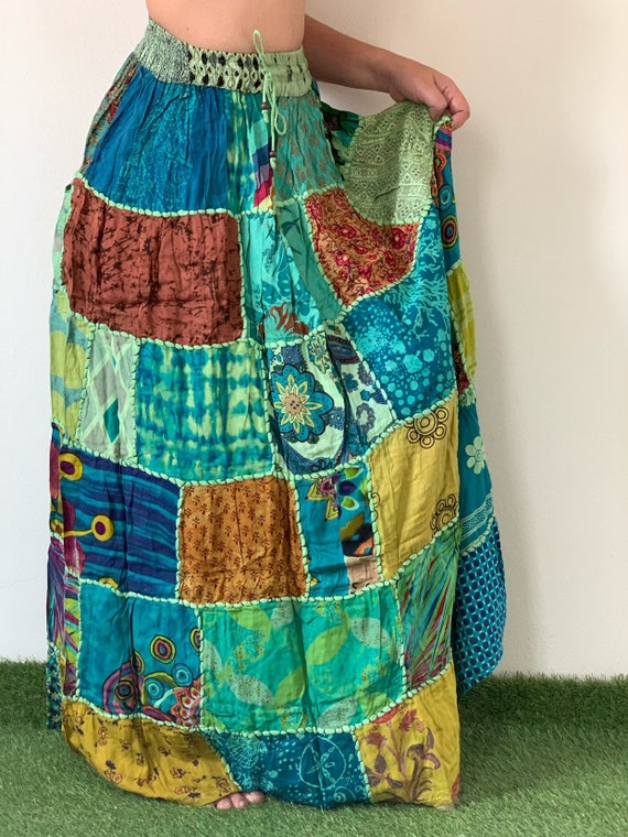 Long skirt SK0314 Cotton Soft Patchwork Bohemian Skirt boho style Beach Skirt