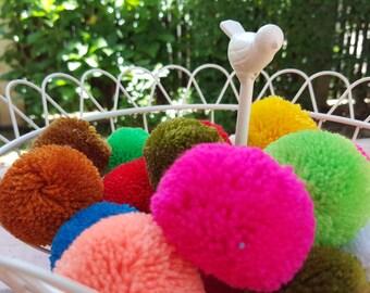 Get 10 pcs of Hmong Tribe yarn BIG Pom Pom Assorted colour, handmade charm Traditional Tribal supplies (Code PM0002)