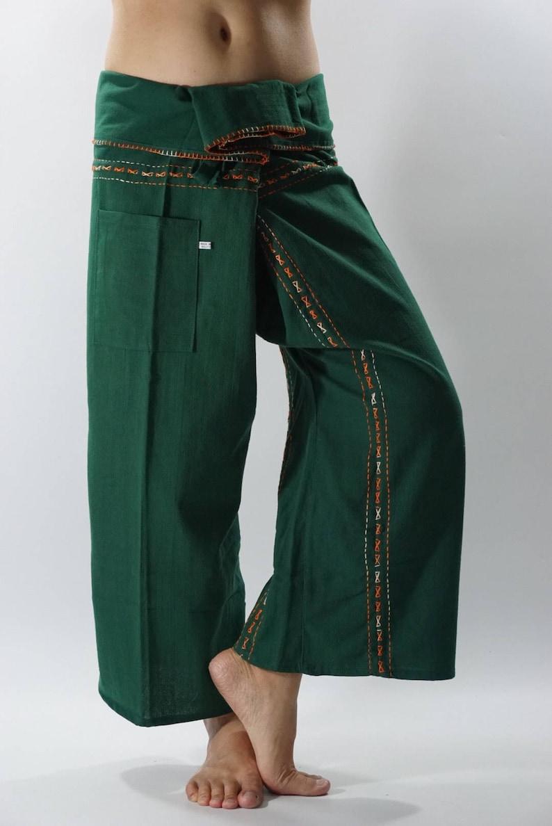 Wrap pants F80066 Hand stitch Unisex Thai fisherman pants stitch Inseam design for Thai Fisherman Pants Wide Leg pants